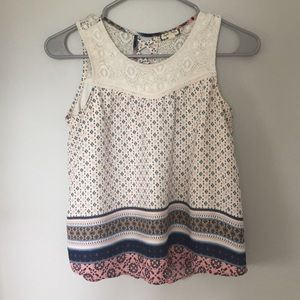 Pink and blue patterned white tank top
